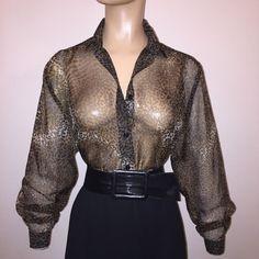 b08b4d5b416283 Glam Vintage Women's Black , Brown Animal Print Sheer Blouse Top Size M/L |  eBay