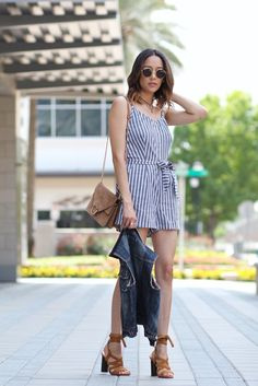Date night just got even more chic with this striped romper.
