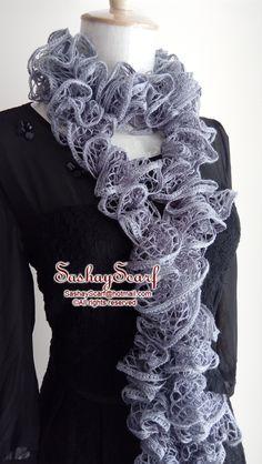 24.00$  Buy here - http://vifro.justgood.pw/vig/item.php?t=li7kok17693 - Gray Sashay Scarf, Crochet Ruffle Scarf, Crochet Scarf, Ruffle Scarf, A040