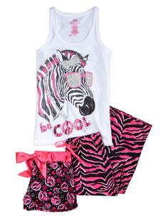 Shop Zebra Gymnast Pajama Set and other trendy girls pajamas pjs ...