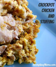 4 thawed boneless chicken breasts 1 box Stuffing Cornbread Mix (6oz) 1 can cream of chicken soup ½ cup sour cream ¼ cup water Place chicken breasts in bottom of crockpot. Pour stuffing mix over chicken. In a medium size bowl combine cream of chicken soup, sour cream and water; mix well. Pour on top pf stuffing mix. Place lid on crockpot and cook on low for 4-5 hours 6.Fluff and serve