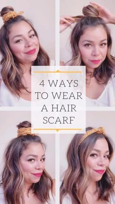 Ways to Wear a Hair Scarf Four different ways to wear a scarf in your hair. Using a Madewell bandanna scarf. Easy summer hair do.Four different ways to wear a scarf in your hair. Using a Madewell bandanna scarf. Easy summer hair do. Bandana Hairstyles For Long Hair, Headbands For Short Hair, Easy Summer Hairstyles, Headband Hairstyles, Easy Hairstyles, Step Hairstyle, Vintage Headbands, Hairstyle Tutorials, Hairstyles Videos