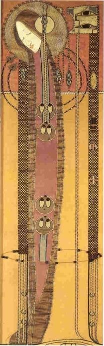 Margaret Macdonald Mackintosh (1865-1933) - Embroidered & Appliqued Panel. Circa 1902.