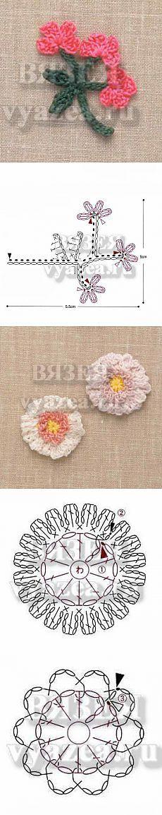 Схемы красивых цветов вязаных крючком
