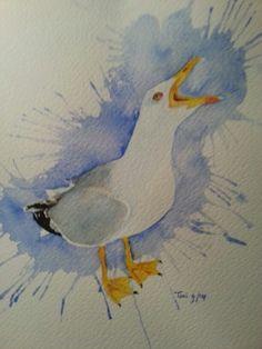 Meeuw (4) (17x25) watercolor 09/2014