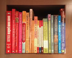 My Paleo rainbow bookshelf