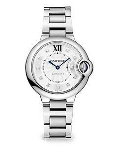 Cartier - Ballon Bleu de Cartier Diamond & Stainless Steel Bracelet Watch - Saks.com