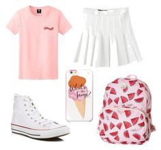 """""""white-pink #2"""" by auliaarist on Polyvore featuring American Apparel, Converse, Roxy and Kate Spade"""