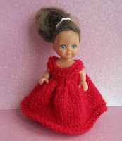Scarlet Dolls Dress To fit 4 - tall doll 4 ply yarn mm knitting needles Cast on 60 stitches Knit 2 rows work in st. Barbie Knitting Patterns, Knitting Dolls Clothes, Doll Dress Patterns, Baby Hats Knitting, Crochet Doll Clothes, Barbie Patterns, Knitted Dolls, Free Knitting, Knitting Ideas