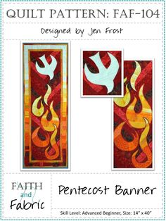 Pentecost Quilt Pattern - Table Runner or Banner Church Banners Designs, Holy Art, Church Altar Decorations, Day Of Pentecost, Holy Spirit Come, Quilted Gifts, Powerful Images, Quilted Wall Hangings, Banner Design