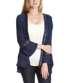 Look what I found on #zulily! Navy Crochet-Trim Open Cardigan by Simply Irresistible #zulilyfinds