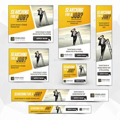Buy Hiring Banners by Hyov on GraphicRiver. Promote your Products and services with this great looking Banner Set. Pamphlet Template, Banner Template, Graphic Design Trends, Graphic Design Print, Fb Banner, Facebook Banner, Linkedin Banner, Real Estate Banner, Ad Layout