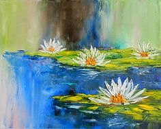 """""""Waterlilies"""" Original: Private Collection. Available as a Prints • Note Cards • Magnets"""