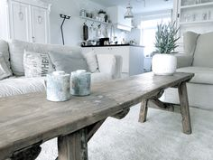Bench coffee table. I like the rustic look combined with new furnishings.
