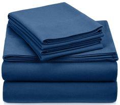 Deep Pocket Flannel Sheets Queen 4 Pc Set Flat Sheet Fitted 2 Pillowcases Blue #Pinzon