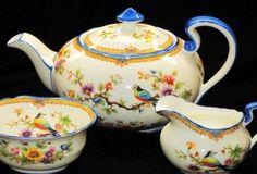 Aynsley Painted Art BIRDS TREES Small Tea pot creamer sugar | eBay