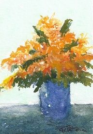 ACEO Original Watercolor Still Life Flower Orange and Blue   eBay