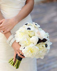 Black and White Bridal Bouquet with Anemones, White Calla Lilies and Cafe au lait Dahlias