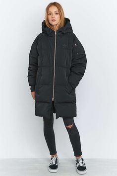 adidas Longline Black Puffer Jacket - Urban Outfitters
