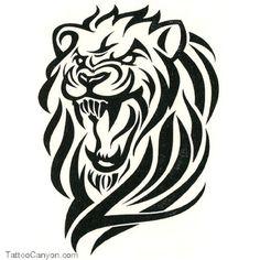 Angry Lion Tribal Tattoo Design | Tattoobite.com
