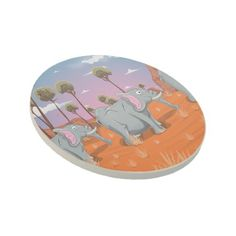African Elephants Sandstone Coaster