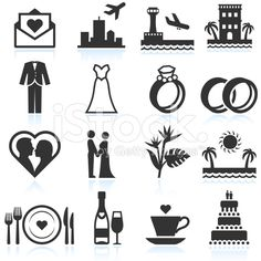 Destination Wedding Ceremony black & white vector icon set royalty-free stock vector art