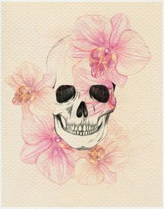 Skull and flowers watercolor tattoo