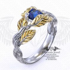 Glorious custom made Flower leaf nature inspired ring available in or Gold by GLORIOUSJEWELsc on Etsy