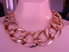 Designer 80s MONET Wide Chunky Link Necklace by joysshop on Etsy, $26.50