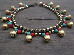 jingle bells gold brass beads Turquoise/red coral Anklet/Thai handmade jewelry
