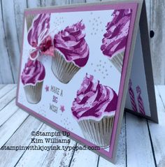 Stampin Up Sweet Cupcake stamp set. Kim Williams, stampinwithkjoyink.typepad.com. Pink Pineapple Paper Crafts. Easy card idea. handmade Birthday card