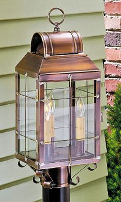 PRIMITIVE ANTIQUE COPPER HANDCRAFTED OUTDOOR WALL LIGHT COLONIAL LANTERN with HANDMADE BARS This reproduction of the classic colonial lantern will most certainly become a worthy welcome to both you an