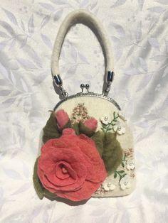 vintage felted rose