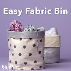 DIY Fabric Bin ,Sewing Inspiration DIY Fabric Bin: There's no better way to store your crafting gear than in a cute fabric bin — that you sewed yourself, of course. This is a great sewing project for beginners and also incredibly useful! Diy Sewing Projects, Sewing Projects For Beginners, Sewing Hacks, Sewing Tutorials, Sewing Crafts, Sewing Diy, Baby Diy Projects, Scrap Fabric Projects, Burlap Projects