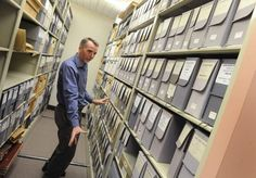 Michael Wurtz, archivist at the University of the Pacific, shows where John Muir's personal papers are kept. Muir's journals are scanned on the Internet, but some have never been transcribed, meaning their contents are largely unknown. The public is invited to help transcribe them