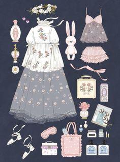 Ideas For Fashion Clothes Illustration Vintage Fashion Sketches, Fashion Design Sketches, Kleidung Design, Mode Lolita, Estilo Lolita, Illustration Mode, Illustration Fashion, Fashion Illustrations, Anime Dress