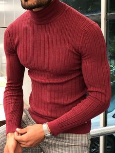 Eva Slim-Fit Turtleneck Knitwear in 5 Colors – brabion Mens Turtleneck, Turtleneck Outfit, Ribbed Sweater, Mens Sweater Outfits, Sweater Fashion, Stylish Mens Outfits, Casual Outfits, Suit Fashion, Mens Fashion