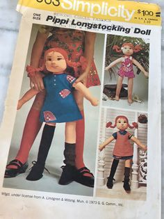 Simplicity 6063 pattern, Pippi Longstocking doll, rag doll clothes, one size, 1973, doll sewing pattern, A. Lindgren, book movie character by MotherMuse on Etsy