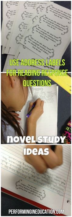 Cool idea for novel study! Using address labels for open response questions.