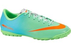 NIKE Mercurial Victory IV TF Junior Astroturf Soccer Boots, Green/Blue, US4.5