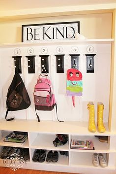 Another pinner says: We have something similar in my mudroom, but with the kid's initials.  I laugh at this b/c we sometimes call our kids by #s when we talk about them so they don't hear their names and pay attention... LOL