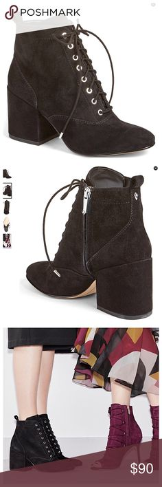 """Sam Edelman Tate Boot STILL IN STORES!  A chunky covered heel lifts a Victorian-inspired bootie crafted from luxuriously soft suede. 3"""" heel; 4"""" shaft; Lace-up style; side zip closure Leather upper/synthetic lining. Gently worn. Sam Edelman Shoes Ankle Boots & Booties"""