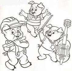 Desenhos para colorir - Os três porquinhos para colorir