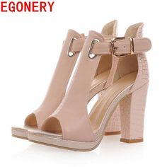 fc3dfa21983c90 EGONERY sandals 2017 fashion summer pumps sexy peep toe women s high heels  3 color platform shoes woman T-Strap shoes sandals