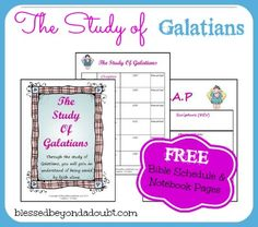 FREE Book of Galatians Bible Study Schedule and Notebook Pages! Also Available James, Ruth, Etc. Free Bible Study, Bible Study Journal, Scripture Study, Bible Teachings, Bible Scriptures, Book Of Galatians, Bible For Kids, Bible Lessons, Have Time