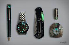 Helios Titanium Compass ($465). Veleno Quantum D2 Flashlight ($120). Zodiac Sea Wolf Watch ($1,295). Edelberg Sloop Pen ($660). Cammenga Beta Blade Knife ($98)....