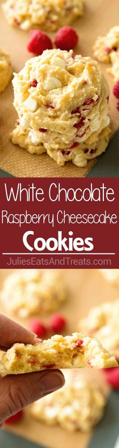 White Chocolate Raspberry Cheesecake Cookies ~ Copycat Subway cookies but even better! Now You Can Make Your Favorite Cookie at Home! via (chocolate chip biscuits easy) Cookie Desserts, Just Desserts, Cookie Recipes, Delicious Desserts, Dessert Recipes, Cookie Table, Raspberry Cheesecake Cookies, White Chocolate Raspberry Cheesecake, Oreo Cheesecake