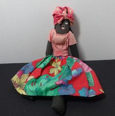 1950s Vintage Black Americana Folk, Home Made Doll with Tropical Print Colorful Skirt and Red Head Kerchief, Folk Art, Collectible Doll Toy by VictorianWardrobe on Etsy