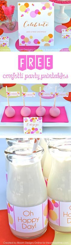 Love these free confetti party printables ...so fun!