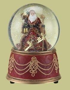 Musical Snow Globes | Musical Snow Globe Santa We Wish you a Merry Christmas Glitterdome ...
